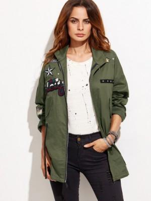 Army green patch zipper coat