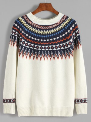 Geometric print sweater